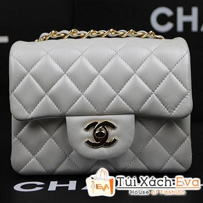 Túi Xách Chanel Classic Mini Super Màu Trắng Da Lì Khóa Bạc Đẹp