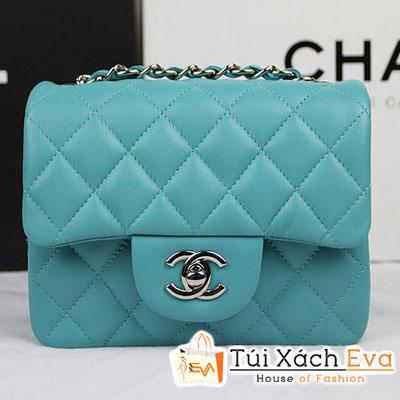 Túi Xách Chanel Classic Mini Super Màu Xanh Ngọc Da Lì Khóa Bạc Đẹp