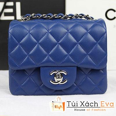 Túi Xách Chanel Classic Mini Super Màu Xanh Coban Da Lì Khóa Bạc Đẹp