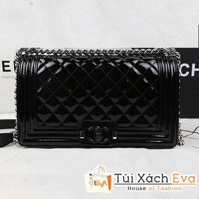 Túi Xách Chanel Boy Super Màu Đen Da Bóng Khóa Đen Đẹp