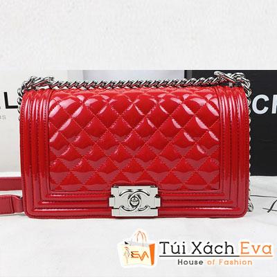 Túi Xách Chanel Boy Super Màu Đỏ Da Bóng Khóa Bạc Đẹp