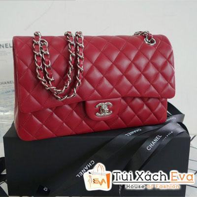 Túi Xách Chanel Classic Super Màu Đỏ Đô Khóa Bạc Đẹp