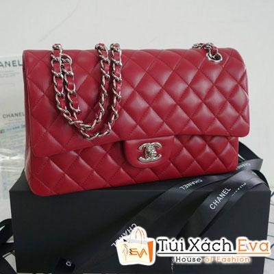 Túi Xách Chanel Classic Super Màu Đỏ Đô Khóa Vàng Đẹp