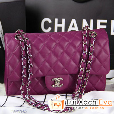 Túi Xách Chanel Classic Super Màu Tím Khóa Bạc Đẹp
