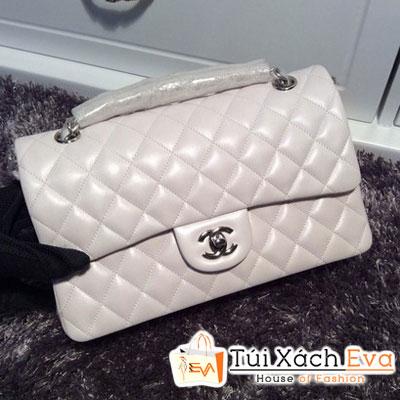Túi Xách Chanel Classic Super Màu Trắng Khóa Bạc Đẹp