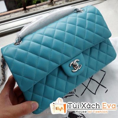 Túi Xách Chanel Classic Super Màu Xanh Ngọc Khóa Bạc Đẹp