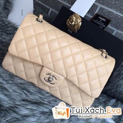 Túi Xách Chanel Classic Super Màu Kem Khóa Vàng Size 30 Đẹp