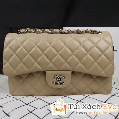 Túi Xách Chanel Classic Super Màu Da Khóa Bạc Size 31 Đẹp