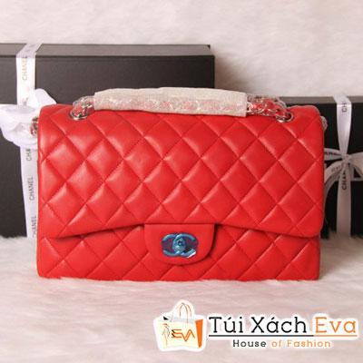 Túi Xách Chanel Classic Super Màu Đỏ Khóa Vàng Size 31 Đẹp