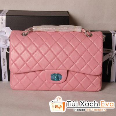 Túi Xách Chanel Classic Super Màu Hồng Khóa Bạc Size 31 Đẹp