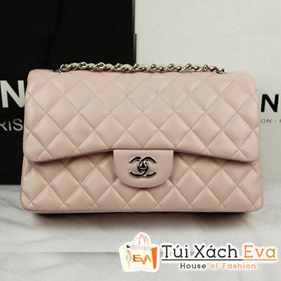 Túi Xách Chanel Classic Super Màu Hồng Da Khóa Bạc Size 31 Đẹp