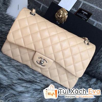 Túi Xách Chanel Classic Super Màu Kem Khóa Vàng Size 31 Đẹp