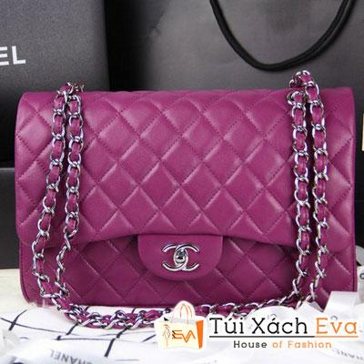 Túi Xách Chanel Classic Super Màu Tím Khóa Bạc Size 31 Đẹp