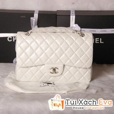Túi Xách Chanel Classic Super Màu Trắng Khóa Bạc Size 31 Đẹp