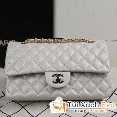 Túi Xách Chanel Classic Super Màu Trắng Khóa Vàng Size 31 Đẹp