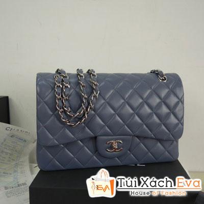 Túi Xách Chanel Classic Super Màu Xám Khóa Bạc Size 31 Đẹp