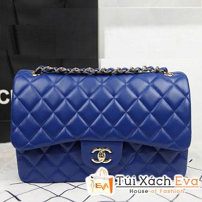 Túi Xách Chanel Classic Super Màu Xanh Cobalt Khóa Vàng  Size 31 Đẹp