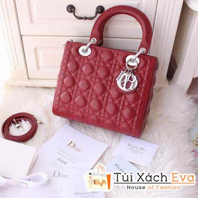 Túi Xách Dior Lady Super Da Lì 5 Ô Màu Đỏ Đô Đẹp