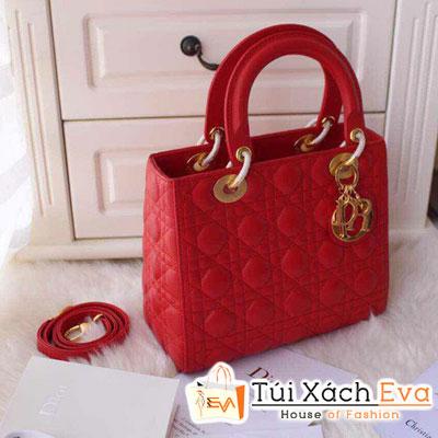 Túi Xách Dior Lady Super Da Lì 5 Ô Màu Đỏ Tươi Đẹp