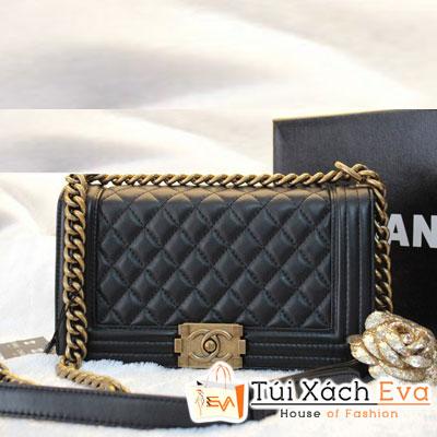 Túi Xách Chanel Boy Siêu Cấp Màu Đen Da Lì Khóa Đồng Đẹp