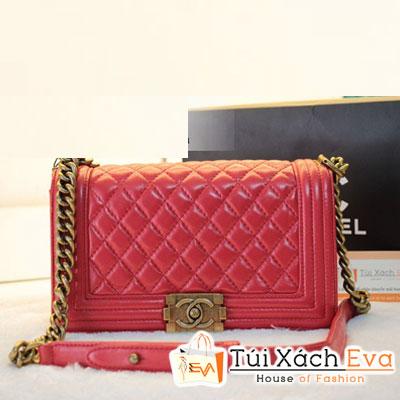 Túi Xách Chanel Boy Siêu Cấp Màu Đỏ Da Lì Khóa Đồng Đẹp
