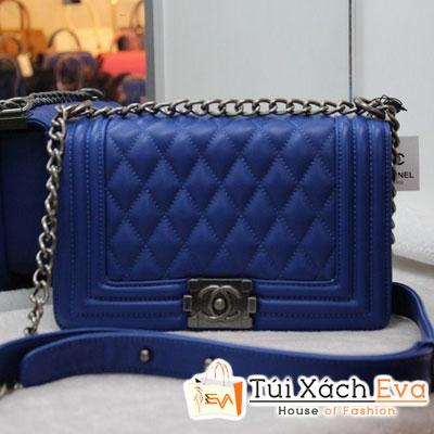 Túi Xách Chanel Boy F1 Da Lì Màu Xanh Cobalt Đẹp