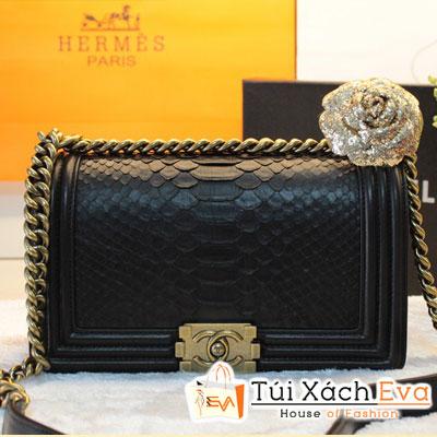 Túi Xách Chanel Boy Siêu Cấp Da Rắn Khóa Đồng Màu Đen Đẹp