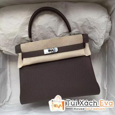 Túi Xách Hermes Kelly Siêu Cấp Da ToGo Màu Xám Đậm Size 28 Đẹp