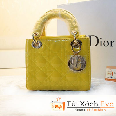 Túi Xách Dior Lady 3 Ô Da Bóng F1 Màu Vàng Đẹp