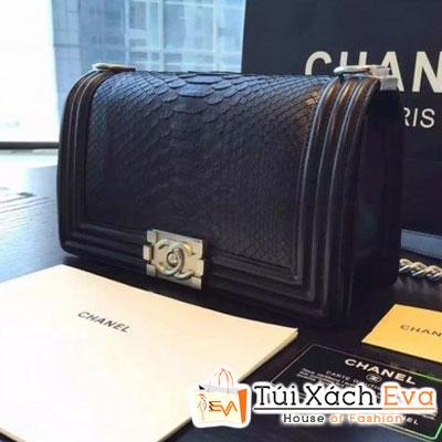 Túi Xách Chanel Boy Siêu Cấp Da Rắn Màu Đen Khóa Bạc Đẹp