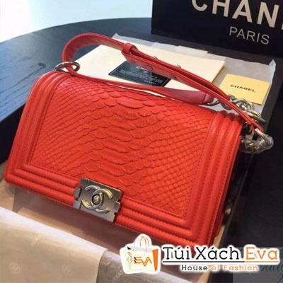 Túi Xách Chanel Boy Siêu Cấp Da Rắn Màu Đỏ Khóa Bạc Đẹp