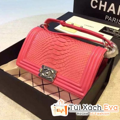 Túi Xách Chanel Boy Siêu Cấp Da Rắn Màu Hồng Sen Khóa Bạc Đẹp