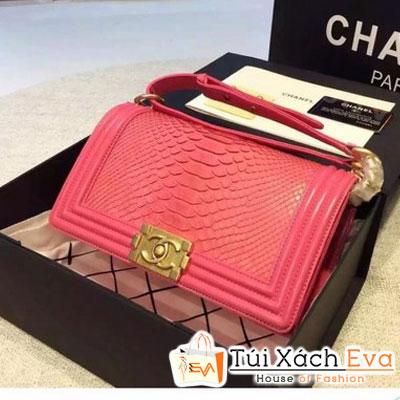 Túi Xách Chanel Boy Siêu Cấp Da Rắn Màu Hồng Sen Khóa Vàng Đẹp