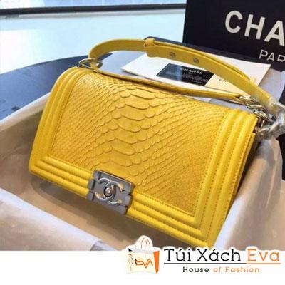 Túi Xách Chanel Boy Siêu Cấp Da Rắn Màu Vàng Khóa Bạc Đẹp