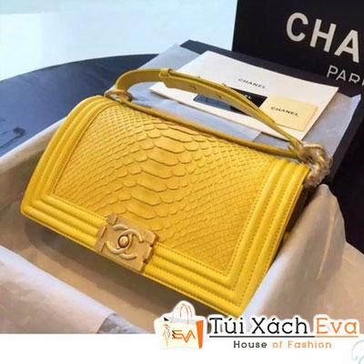 Túi Xách Chanel Boy Siêu Cấp Da Rắn Màu Vàng Khóa Vàng Đẹp