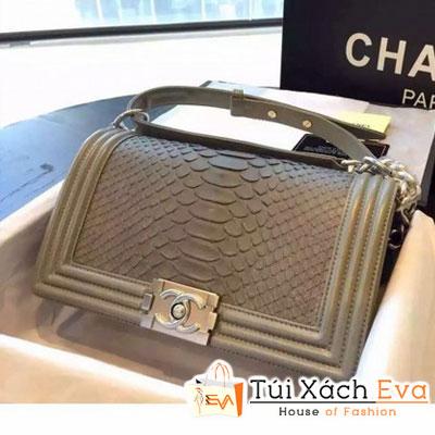 Túi Xách Chanel Boy Siêu Cấp Da Rắn Màu Xám Khóa Bạc Đẹp