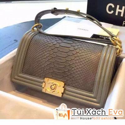 Túi Xách Chanel Boy Siêu Cấp Da Rắn Màu Xám Khóa Vàng Đẹp