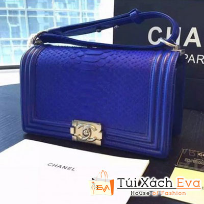Túi Xách Chanel Boy Siêu Cấp Da Rắn Màu Xanh Cobalt Khóa Bạc Đẹp