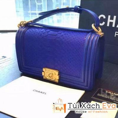 Túi Xách Chanel Boy Siêu Cấp Da Rắn Màu Xanh Cobalt Khóa Vàng Đẹp