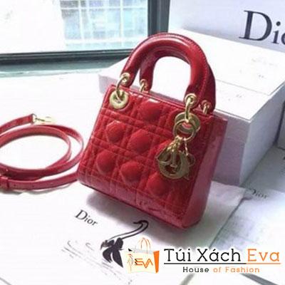 Túi Xách Dior Lady Super Da Bóng 3 Ô Màu Đỏ Khóa Vàng Đẹp