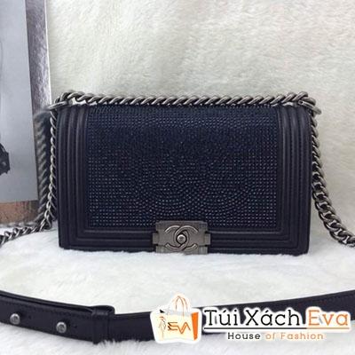 Túi Xách Chanel Boy Siêu Cấp Đính Đá Màu Xanh Đẹp