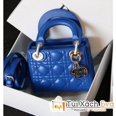 Túi Xách Dior Lady Super Da Lì 3 Ô Màu Xanh Cobalt Khóa Bạc Đẹp
