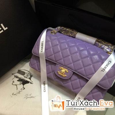 Túi Xách Chanel Classic Super Da Hột Màu Tím Đẹp