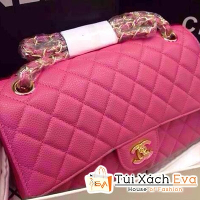 Túi Xách Chanel Classic Super Da Hột Màu Hồng Đẹp