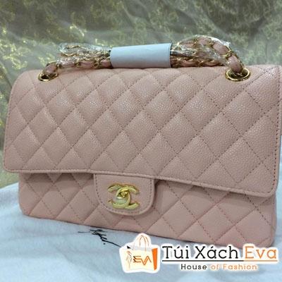 Túi Xách Chanel Classic Super Da Hột Màu Hồng Phấn Đẹp