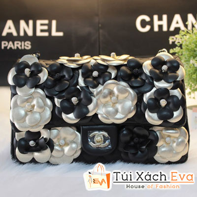 Túi Xách Chanel Classic Hoa Hồng F1 Màu Đen Hoa Vàng Đẹp