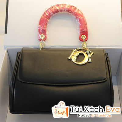 Túi Xách Dior Be F1 Màu Đen Quai Đỏ Khóa Vàng Đẹp