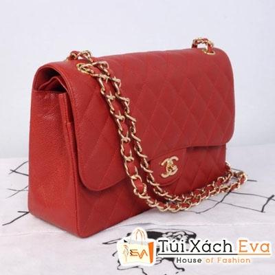 Túi Xách Chanel Classic Super Da Hột Màu Đỏ Đẹp