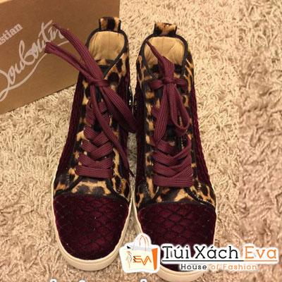 Giày Thể Thao Louboutin Louis Super Da Báo Màu Đỏ Nhung Đẹp