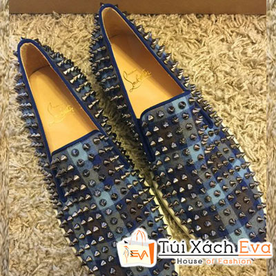 Giày Christian Louboutin Super Đinh Tán Sọc Caro Màu Xanh Cobalt Đẹp